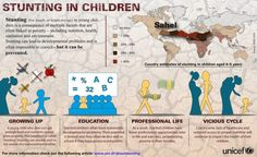 Stunting - low height for age - in young children is a consequence of multiple factors that are often linked to poverty - including nutrition, health, sanitation and environment. Stunting can lead to development problems and is often impossible to correct - but it can be prevented. Infographic © UNICEF