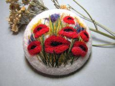 Needle felted brooch Natural jewelry Wool felt от FeltAccessories