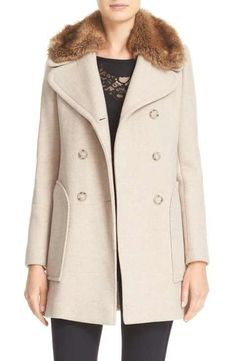 Rebecca Taylor Wool Blend Peacoat with Faux Fur Collar