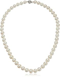 14k White Gold AA-Quality Akoya Cultured PearlNecklace (8-8.5mm) *** Want additional info? Click on the image.