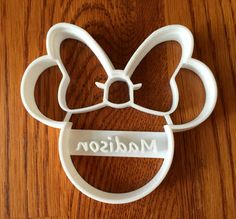 Welcome to Three D Geek! This listing includes a Minnie Mouse cookie cutter PERSONALIZED with the name of your choice, made on our 3d printer! Send us