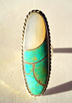 Norman Lee Turquoise Ring Sterling Navajo MOP by RenaissanceFair