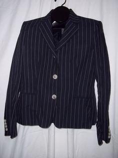 Womens Ralph Lauren Navy Blue White Pinstripe Blazer Jacket Size: 8 #RalphLauren #Blazer