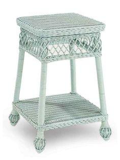 Cottage Wicker Side Table, Light Blue