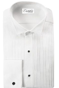 """Neil Allyn Traditional Fit 100% Cotton 1/4"""" Pleated Wingtip Collar Tuxedo Shirt"""