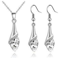 Necklace & Earrings - Angel Eyes Tear Water Drop Austrian Crystal