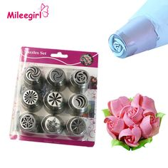 9pcs Russian Decorating Piping Nozzle Tips Set,Stainless Steel Flower Icing Cake Pastry Tools Dessert Decorators Beaks