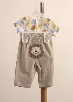 BB073 Barnes Boy Onesie with Lion Pants Bib and Pants Set Safari-themed onesie set with bib, onesie and matching pants. 100% cotton.  $13.90