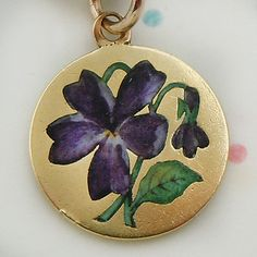 Vintage gold and enamel violet flower charm ~ A Genuine Find