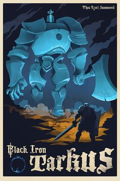 Dark Souls Black Iron Tarkus - Print - the Iron Golem Poster, Dark Souls Game Dark Souls 2, Demon's Souls, Bloodborne, Old Poster, Poster Poster, Poster Ideas, Soul Saga, Iron Golem, The Golem
