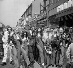 Pan's People opening a new branch of Granditers Menswear in East Ham High Street in 1972.
