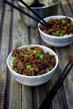 Korean Beef Bowl   Ground beef with a sticky sweet and spicy coating