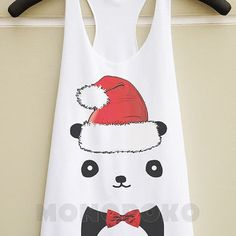 S M L -- Panda TShirts Bow Panda Shirts Animal Shirts Christmas Top Women Tank Top Racer Shirts Racer Tank Top Women TShirts Women T-Shirts