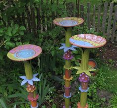 Primitiva Pottery and Tile Totem bird bath/feeders