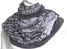 The Raven Book Scarf. <b>PERFECT GIFT FOR ANY OCCASION</b></p> <p><b>• Book Scarf is everything you're looking for in a present - absolute must-have for the any season, perfect conversation starter, unique literary pattern. Best literary gift for book lovers both stylish and inspirational. Book Scarf will add intellectual vibes to any outfit.</b></p>. <p><b>DETAILS</b></p> <p>• Infinity/loop scarf</p> <p>• Gray</p> <p>• Very soft rayon-poly blend jersey fabric</p> <p>• Finished edges</p…