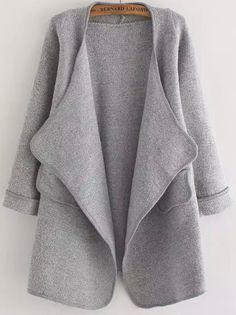 Grey Long Sleeve Stitch Pocket Loose Cardigan -SheIn(Sheinside)