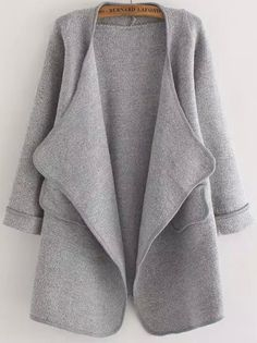 Cárdigan manga larga bolsillo suelto -gris 24.95