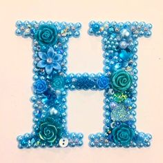 Mixed media button art initials letter H