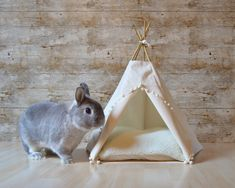 Rabbit teepee Guinea Pig bed Kitten tent with pillow - solid ivory - pompom trim by HipTepeeHooray on Etsy https://www.etsy.com/listing/258469372/rabbit-teepee-guinea-pig-bed-kitten-tent