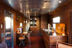 Remodeled Airstream Interiors | Above: The kitchen is from Miele and the stools are from Blackman Cruz ...