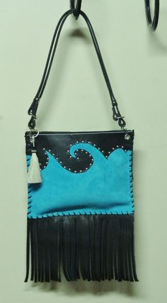 Turquoise Leather Western Purse with Fringe by RodeoMomKat on Etsy, $80.00
