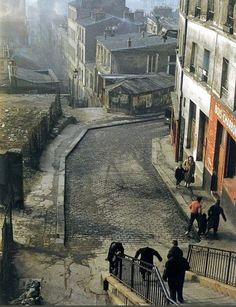 La rue Vilin photographiée par © Henri Guérard en 1959  (Paris 20ème)