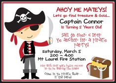 DIY  DIGITAL FILE  Pirate invitation by BurleyGirlDesigns on Etsy, $10.00