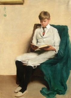 """Reading and Books in Art:  by Edmund C. Tarbell....""""Portrait of a Boy Reading"""" (1913)"""