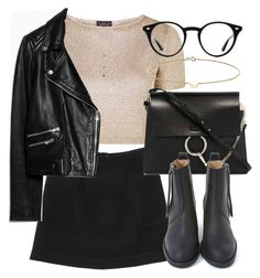 """""""Untitled #5858"""" by laurenmboot ❤ liked on Polyvore featuring Topshop, Monki, MANGO, Chloé, Acne Studios, Liz Law, Ray-Ban and Minor Obsessions"""