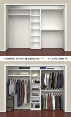 Closet Organizers 586593920201621372 - ClosetMaid 6105340 Spacecreations Classic Closet Kit – ClosetMaid Spacecreations Closet Organizers – Get Decluttered Now! Source by Wardrobe Design Bedroom, Master Bedroom Closet, Bedroom Wardrobe, Small Master Closet, Small Closets, Closet Renovation, Closet Remodel, Bedroom Cupboard Designs, Bedroom Cupboards