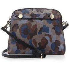 Furla Piper XL Camo-Print Leather Crossbody Bag (351 CAD) ❤ liked on Polyvore featuring bags, handbags, shoulder bags, apparel & accessories, camo, leather shoulder handbags, genuine leather handbags, crossbody purses, camo handbags and leather cross body purse
