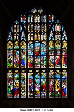 The 15thC West Window (with stained glass from 1854) in Norwich Cathedral, Norwich, Norfolk, England, UK - Stock Photo