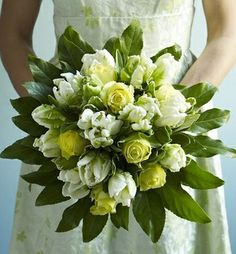 Yellow-Green Roses, Green Parrot Tulips + Green Foliage