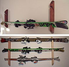 Store 1-5 pairs of skis. 5 sizes. Wall mounted.