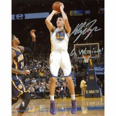 Klay Thompson Golden State Warriors Autographed 8'' x 10'' White Uniform Shooting Photograph with Go Warriors Inscription