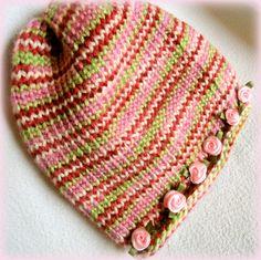 Multi-Colored Infant Cloche Hat w/ satin rosettes ~ I loom knit this for my grandniece Julia