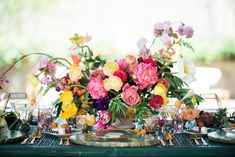 24 Summer Wedding Ideas to Copy for Your Own Celebration - Check out these steal-worthy summer wedding ideas, themes, and tips before you start planning your warm weather soirée. bright colorful flowers decor centerpiece {Becca B Photography} Centerpiece Decorations, Flower Decorations, Wedding Decorations, Centrepieces, Wedding Places, Wedding Signs, Wedding Themes, Wedding Styles, Wedding Ideas