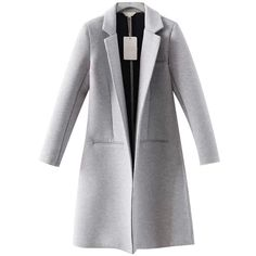 Chicnova Fashion Pure Color Grey Slim Fit Overcoat ($50) ❤ liked on Polyvore featuring outerwear, coats, jackets, abrigo, chicnova, over coat, grey overcoat, slim fit overcoat, slim fit coat and gray coat