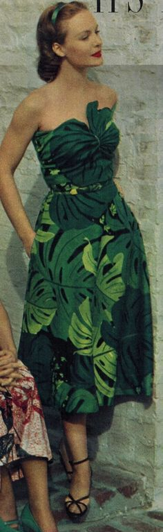 Strapless and large tropical leaves! 50s sarong dress green leaves island girl tiki tropical sundress vintage fashion color photo print ad model
