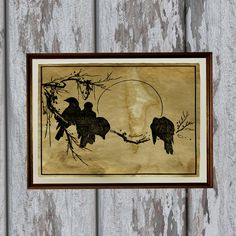 Japanese Birds art print on vintage looking handmade old paper. Beautiful antiqued decoration.  Very nice 8.3 x 11.7 (A4) old looking decoration for