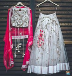 Designer Lehenga & Choli for any Wedding Purpose For Bridemaids. To Customised this garment log on to Indian Lehenga, Red Lehenga, Anarkali, Lehenga White, Floral Lehenga, Lehenga Choli Designs, Indian Attire, Indian Outfits, Half Saree Designs