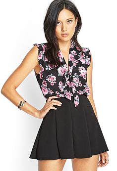 Floral Print Tie-Front Blouse | FOREVER21 - 2000069140
