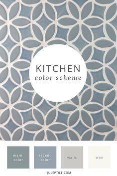 How To Create A Whole House Color Scheme - Julep Tile Company Kitchen Colour Schemes, House Color Schemes, Kitchen Colors, House Colors, Kitchen Ideas, Kitchen Design, Painting Trim, House Painting, Accent Colors For Gray