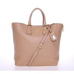 Prada Beige Leather Vitello Daino Shopper Tote BN2419
