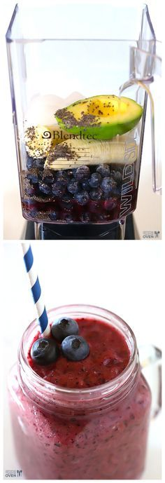 Smoothie (Blueberry Avocado Smoothie) Brain Power Smoothie -- this yummy smoothie is filled with delicious ingredients that are all good for brain health Power Smoothie, Juice Smoothie, Smoothie Drinks, Smoothie Recipes, Detox Drinks, Yummy Smoothies, Breakfast Smoothies, Yummy Drinks, Healthy Drinks