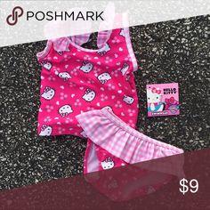 HELLO KITTY Infant 2-piece tankini swim suit NEW! Absolutely adorable pink and white toddler tankini. Sweet Hello Kitty design, pretty ruffles  on shoulders and around the waist. Never worn!      UPF 50+ Hello Kitty Swim Bikinis