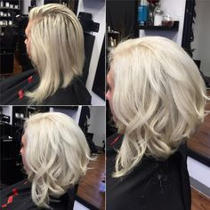 Curly Angled Bob Hairstyle for Women - Modern White Blonde Hair