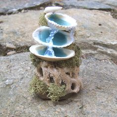 Miniature MERMAID FOUNTAIN Fairy Garden Furniture Beach Decor Gardener Gift via Etsy. DIY version - attach sea shells to small driftwood, add moss and blue candle gel - Fairy Furniture, Miniature Furniture, Furniture Ideas, Diy Jardim, Fairy Village, Fairy Crafts, Fairy Garden Houses, Beach Fairy Garden, Gnome Garden