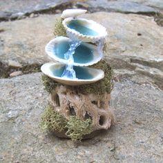 Miniature Fairy Garden Fountain Tier Shells By Thelittlehedgerow