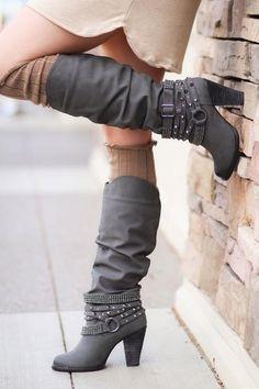 Charcoal Grey Diamonds & Studs Boots